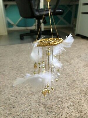 HANDMADE BEAUTIFUL VINTAGE  Gold and White Dream catcher 10 inches long