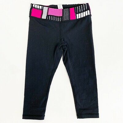 Ivivva Lululemon Girls Athletic Yoga Cropped Capri Leggings Size 6 Black Pink