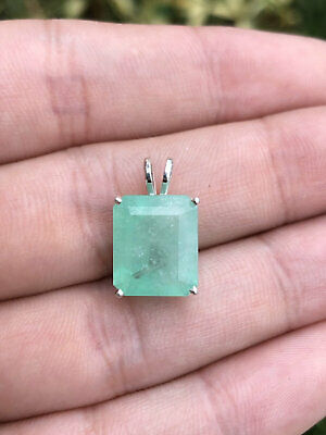 """6.39 Carats Huge Natural Colombian Emerald Cut Pendant Sterling Silver 18"""" Neck"""