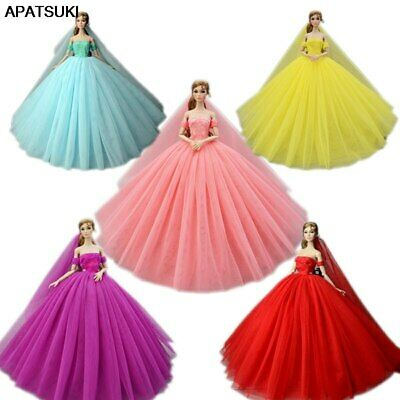 "High Quality Wedding Dress for 11.5"" Doll Clothes Party Gown Outfits With Veil"