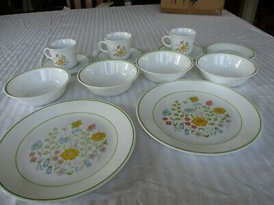 Corning Corelle Spring Meadow Dinner Plates Bowl Coffee Cups & Saucer  Lot of 13