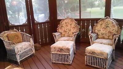 Vintage Shabby Chic Cane Wicker Chairs Footrest Floral Cushions