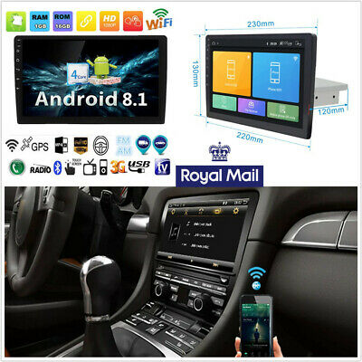"""9""""Quad-core 1Din Android 8.1 HD Touch Screen Car GPS BT Wifi DAB OBD Mirror Link"""
