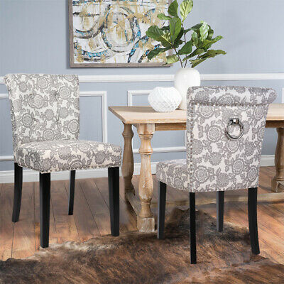 2x Dining Chairs Vintage Floral Fabric Padded Seat with Black Wooden Legs Lounge
