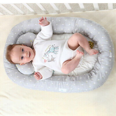 AU Portable Newborn Baby Bassinet Bed Soft Lounger Crib Sleep Nest With Pillow-
