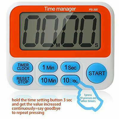 LCD Digital Large Kitchen Cooking Timer Count-Down b15 Clock Loud Alarm Magnetic