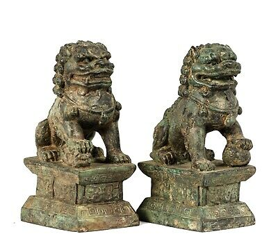 """19th Century Antique Chinese Guardian Lions Foo Dogs Imperial Lions - 16cm/6"""""""