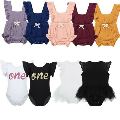 Infant Baby Toddler Girls One-Piece Romper Dress Cotton Cap Sleeves Jumpsuit
