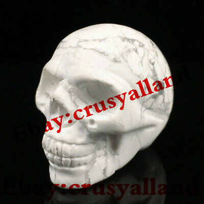 "Top! 1.8"" Howlite Carved Skull Quartz Crystal Gemstone Skull Healing Figurines"