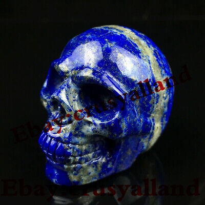 "Top1.8"" Natural Quartz Crystal Carved Lapis Lazuli Skull Stone Healing Figurines"