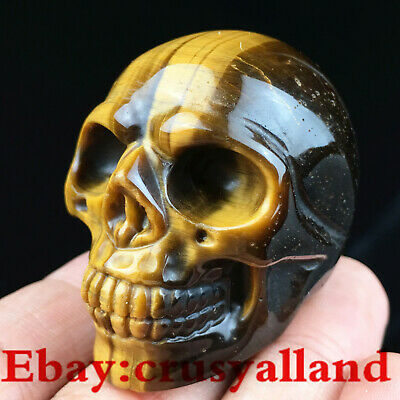 "1.8"" Natural Gemstone Hand Carved Tiger eye Jasper Skull Stone Healing Figurines"