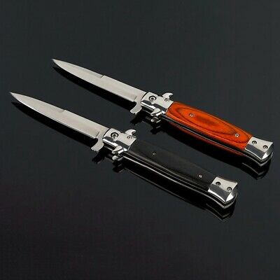 "9"" Stiletto Milano Tactical Wood Spring Assisted Folding Knife Pocket Blade #ZX"