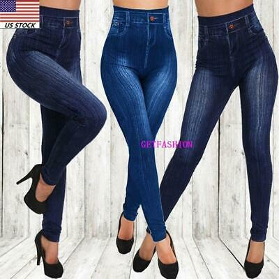 USA Women High Waisted Stretchy Slim Skinny Jeans Denim Ladies Jeggings Pants