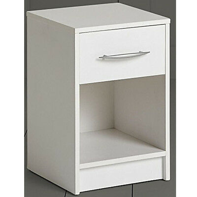 1 Drawer Storage Chest / Bedside Table / Nightstand - White ZAS003366610
