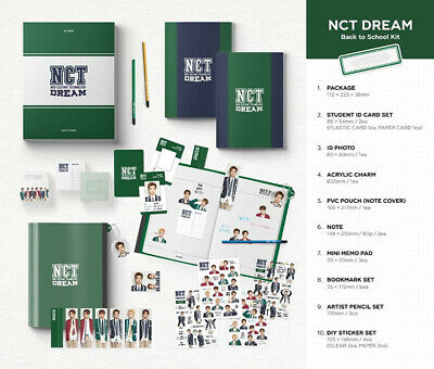 2019 NCT DREAM BACK TO SCHOOL KIT /ID Card+Photo+Charm+Pencil+Sticker+Pouch+etc
