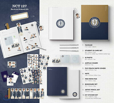 2019 NCT 127 BACK TO SCHOOL KIT /ID Card+Photo+Charm+Pencil+Sticker+Pouch+etc