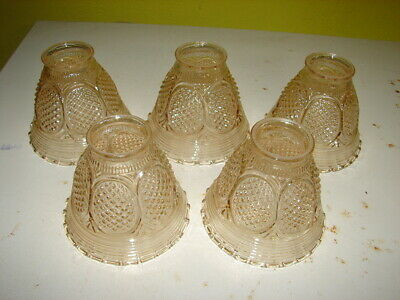 5 Vintage Light Amber Glass Lamp Shades - Pan Fixture - Ceiling - New Old Stock