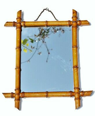 A Small Antique Victorian Wall Mirror with a Carved Wood Bamboo Style Frame