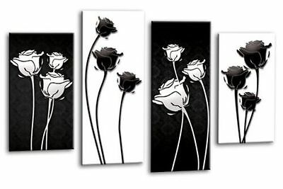 FLORAL FLOWER ART Picture Black White Abstract Canvas Wall