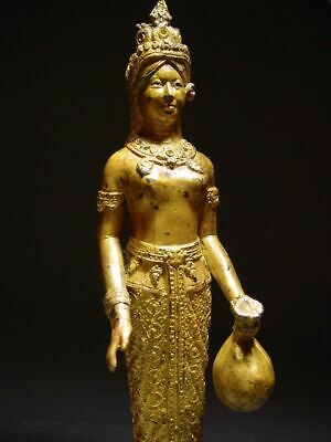 ANTIQUE BRONZE STATUE OF A FEMALE DEVATA, 'NANG KWAK', WEALTH GODDESS. 19/20th C