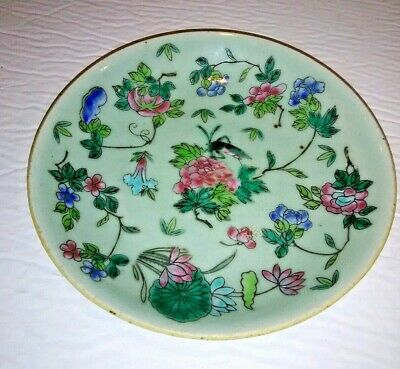 Antique Chinese Porcelain Celadon Famille Rose Plate Lucky Cricket Signed Twice
