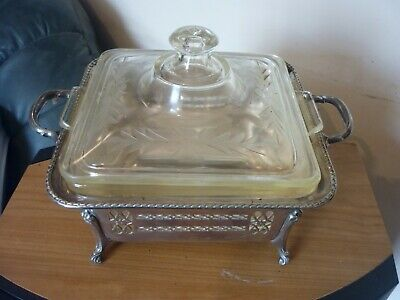 Vintage Art Deco silver plated and glass lined footed serving dish Pyrex