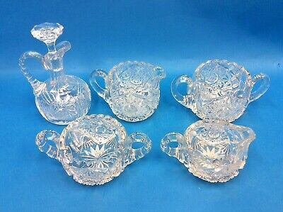 Mixed Vintage Lot Brilliant Cut Glass Star Pattern Small Pitcher Creamer Bowl