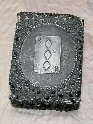 Victorian Silver Playing Card Case ~ Lucky 3 of Diamonds -  124 Grams Sterling