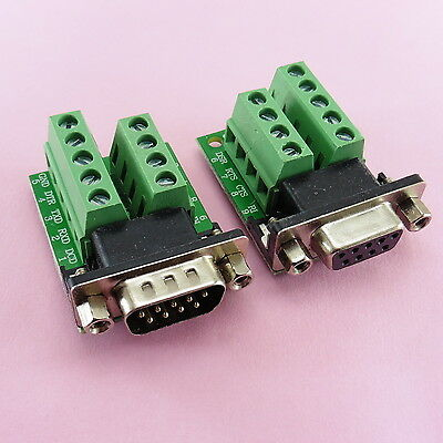 9 Pin DB9 Solderless Terminal Female or Male Serial RS232 Adapter 485