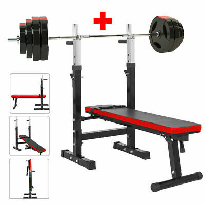 Adjustable Folding Weight Bench Gym + Barbell Bar Weight Plates Set 60KG