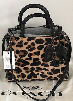 43102808952a NEW COACH 32872 Rogue 25 With Embellished Leopard Print/ Black Copper, MSRP  $795
