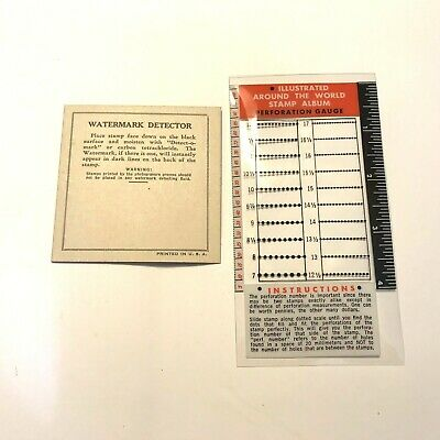 Vintage Watermark Detector Card and Perforation Gauge for Stamp Collecting