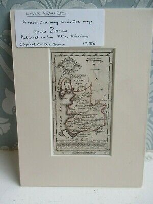 Lancashire Miniature Engraved Map By John Gibson 1758 - Atlas Minimus