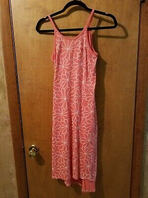 Old Navy Girls Dress Size Large Maxi Sleeveless Coral Stripes Full Length