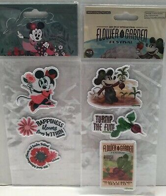 Disney Parks Epcot Flower Garden Festival 2019 Embroidered Patches NEW Set Of 2