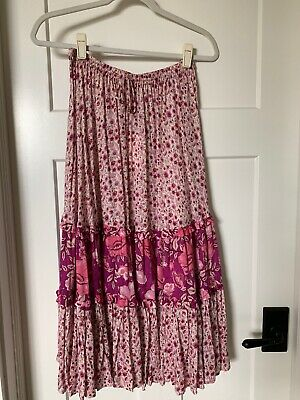 fc7b60f2a SPELL & THE Gypsy Lionheart Zahara Rosewater Pink Floral Midi Skirt ...