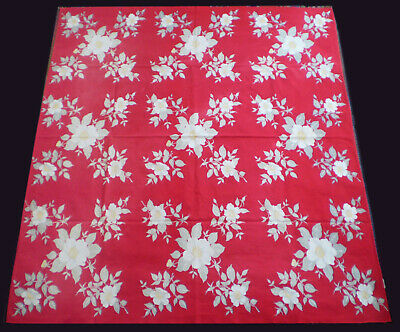 """VTG 1950s CALAPRINT TABLECLOTH White & Yellow Magnolia Flowers on RED 54"""" x 47"""""""