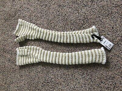 Gold and White Striped Long Wrist Knit Ladies Fingerless Gloves Winter Fashion