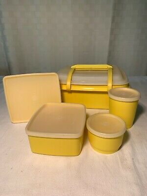 Vintage Yellow Tupperware Lunchbox Sandwich Pack Picnic