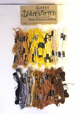 Vintage Job Lot Bundle 47 Anchor Brown Yellow Embroidery Threads Skiens Cottons
