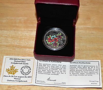 1 OZ Pure Silver With Stained Glass ..    Craigdarroch Castle ..   RCM