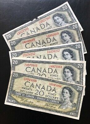 1954 $20 Lot Of 5 Bank Of Canada Banknotes! Devil's Face Notes! Trends $300/Lot