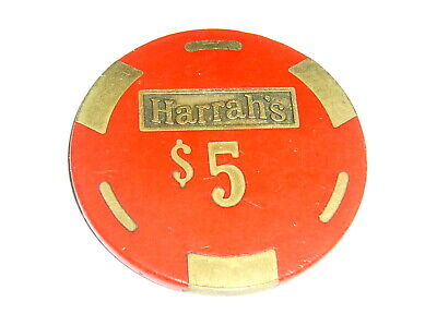HARRAH'S CASINO $5 GAMING CHIP BRASS CORE 1980's Collectable