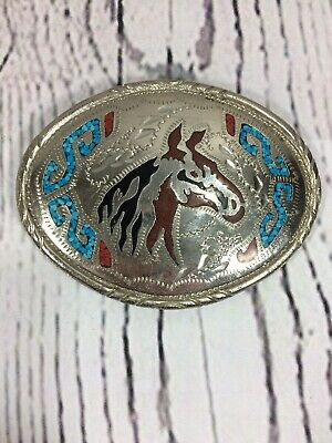 VTG Western Horse Head Turquoise Black Brown Onyx inlay Silver Oval Belt Buckle