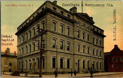 Early 1900'S. Post Office. Trenton, Nj Postcard Upa7
