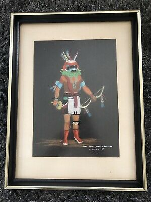 Hopi Three Horned Kachina Painting 1974 by A. O'Brien - Native American Art