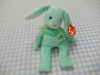 """Vintage 1996 Ty Mint Green Beanie Baby Rabbit Called """"Hippity"""" With Tag!"""