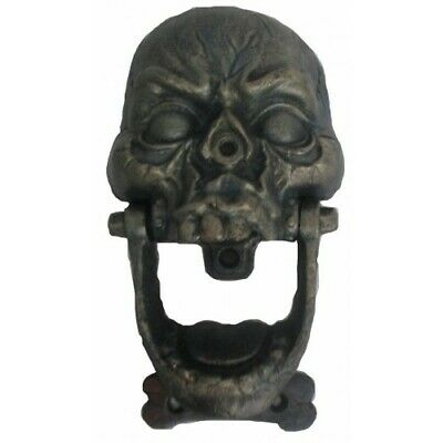 Skull Cast Iron Door Knocker Bronze Antique Style New