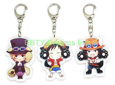 Set of 3 One Piece Anime Acrylic Keychain Portgas D Ace Trafalgar Law Luffy