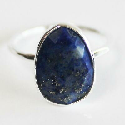 Faceted Semi-Precious Blue Lapis Lazuli Natural Stone Solid 925 Silver Statement